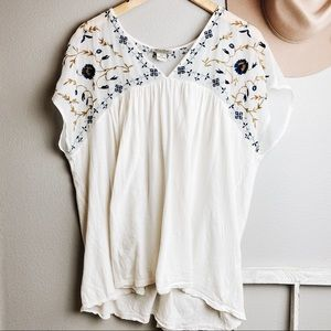 Lucky Brand Cream Floral Embroidered Panel Top XXL